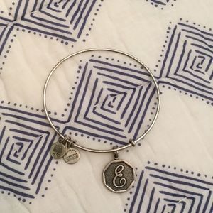 "alex and ani cursive ""E"" bracelet"